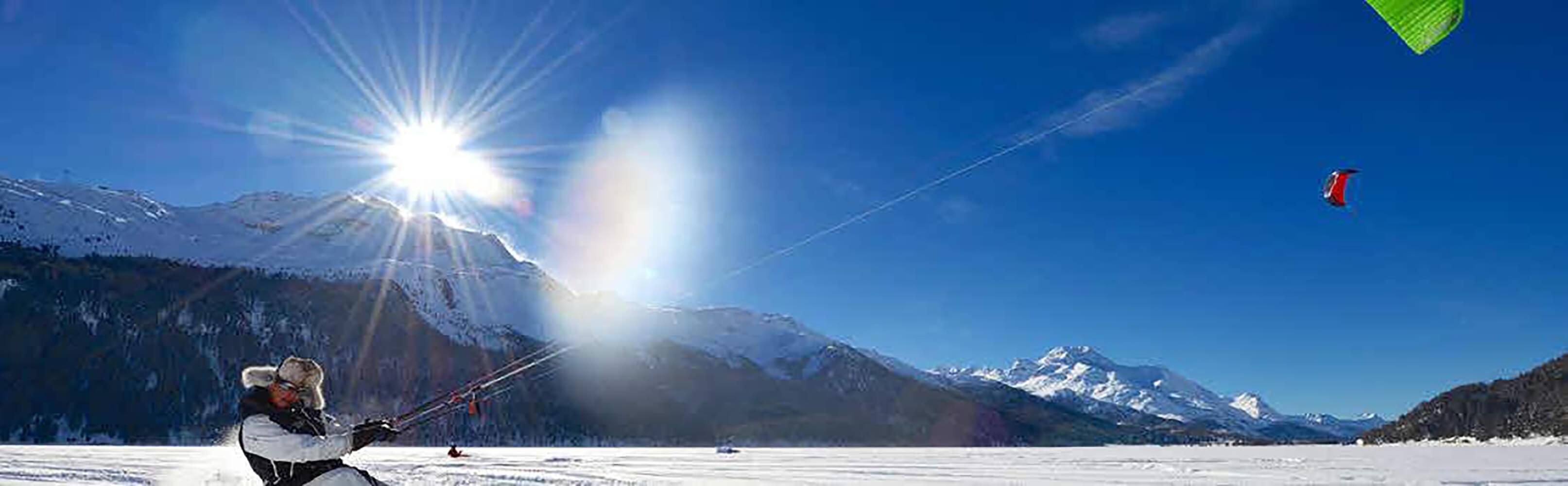 Snowkiten auf dem Silvaplanersee 1