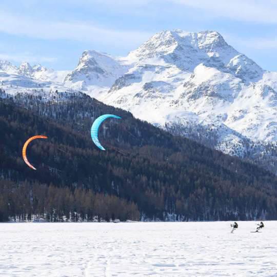 Snowkiten auf dem Silvaplanersee 10